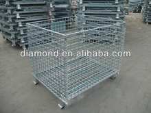 Hot sale industrial metal storage cages with 4 wheels,warehouse folding steel storage cage,metal cage storage container