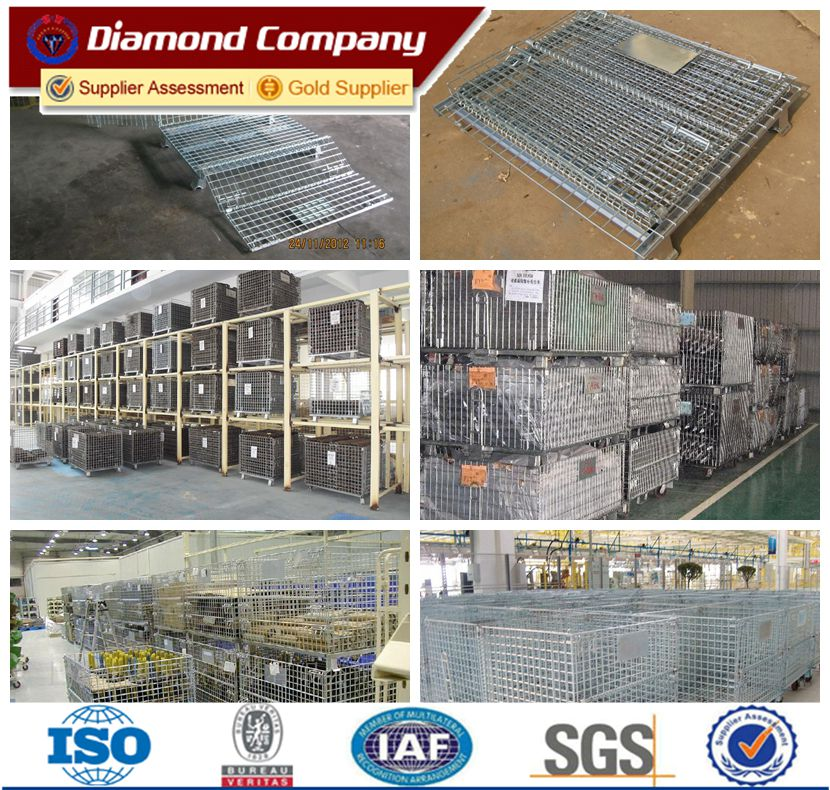 Hot sale used industrial collapsible stackable metal storage cages ,warehouse folding steel storage cage hot sale