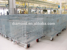 High quality and low price industrial stackable wire mesh storage cage, warehouseSteel Wire Folding Storage Cage(ISO9001,BV,SGS)
