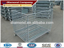 Galvanized collapsible and stackable warehouse metal rack storage cage