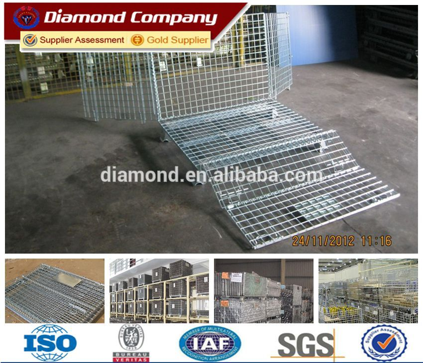 Metal foldable Storage Cage,stackable storage cage,lockable storage cage,steel storage cage with wheels