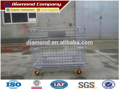 Meatal foldable Storage Cage hot sale,lockable storage cage,steel cage with wheels(ISO quality)