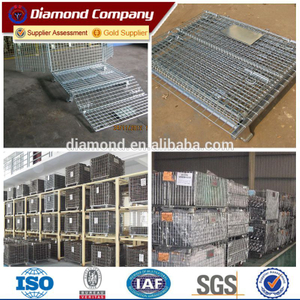 Galvanized collapsible metal wire mesh container