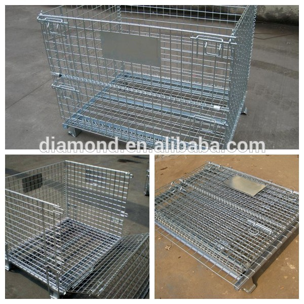 Hot sale industrial warehouse metal storage cages with wheels/warehouse folding steel storage cage/metal cage storage container