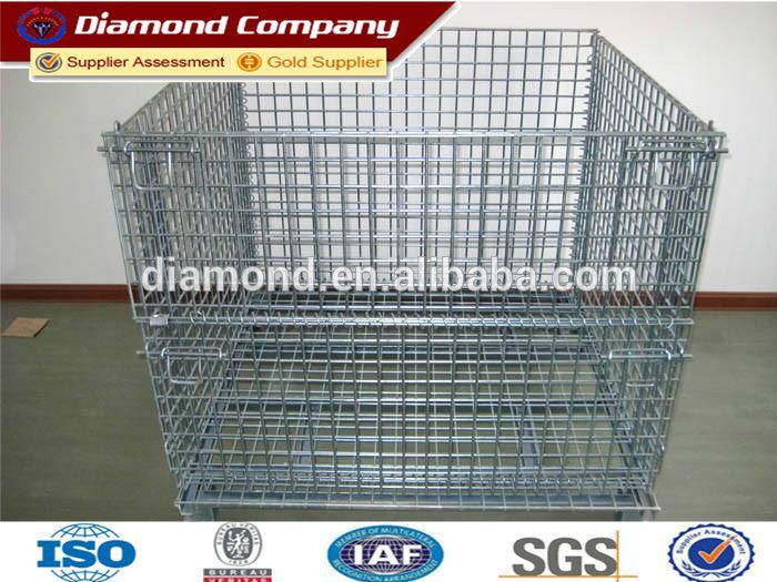 Galvanized folding steel cage with wheels/Metal foldable Storage Cage
